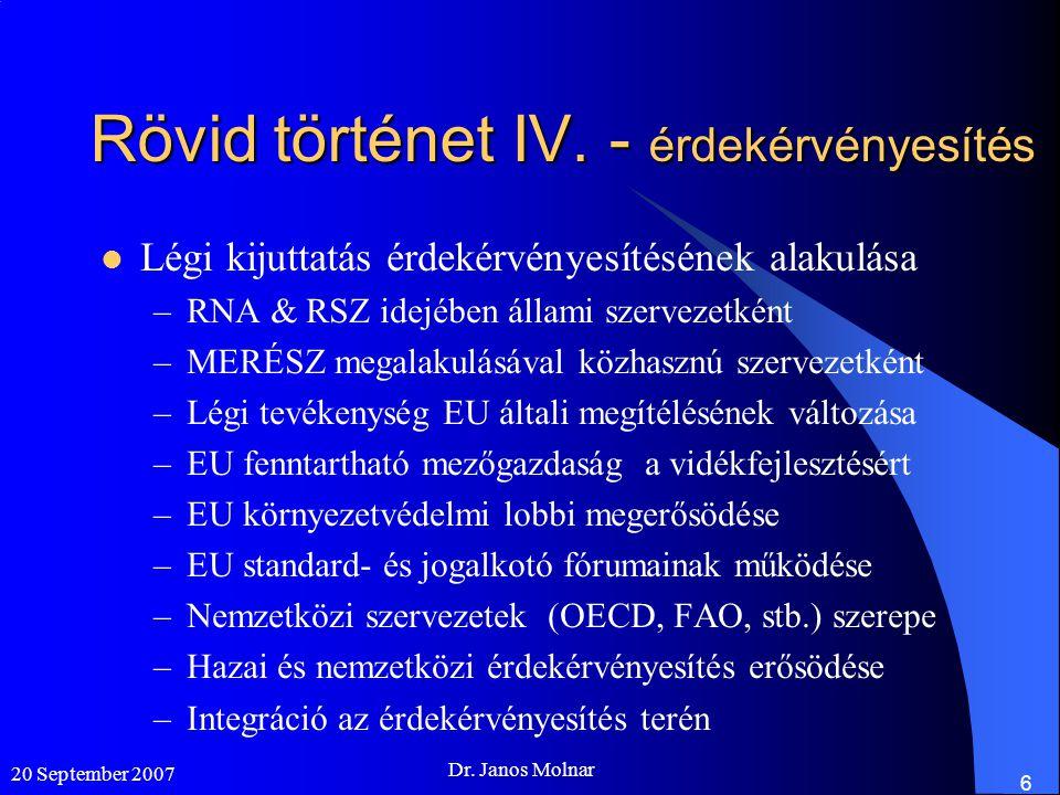 20 September 2007 Dr.Janos Molnar 7 Eddigi érdekérvényesítés I.