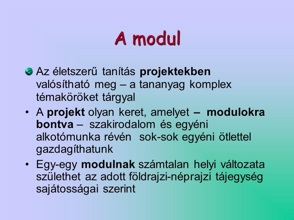 A modul Az életszerű tanítás projektekben valósítható meg – a tananyag komplex témaköröket tárgyal •A projekt olyan keret, amelyet – modulokra bontva – szakirodalom és egyéni alkotómunka révén sok-sok egyéni ötlettel gazdagíthatunk •Egy-egy modulnak számtalan helyi változata születhet az adott földrajzi-néprajzi tájegység sajátosságai szerint