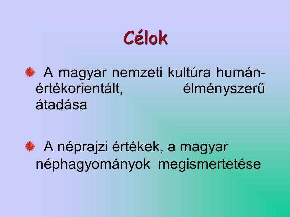 Célok A magyar nemzeti kultúra humán- értékorientált, élményszerű átadása A néprajzi értékek, a magyar néphagyományok megismertetése