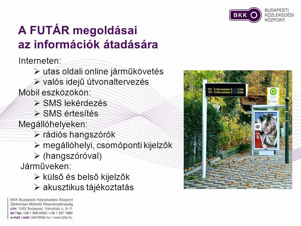 A FUTÁR megoldásai az információk átadására Interneten:  utas oldali online járműkövetés  valós idejű útvonaltervezés Mobil eszközökön:  SMS lekérdezés  SMS értesítés Megállóhelyeken:  rádiós hangszórók  megállóhelyi, csomóponti kijelzők  (hangszóróval) Járműveken:  külső és belső kijelzők  akusztikus tájékoztatás