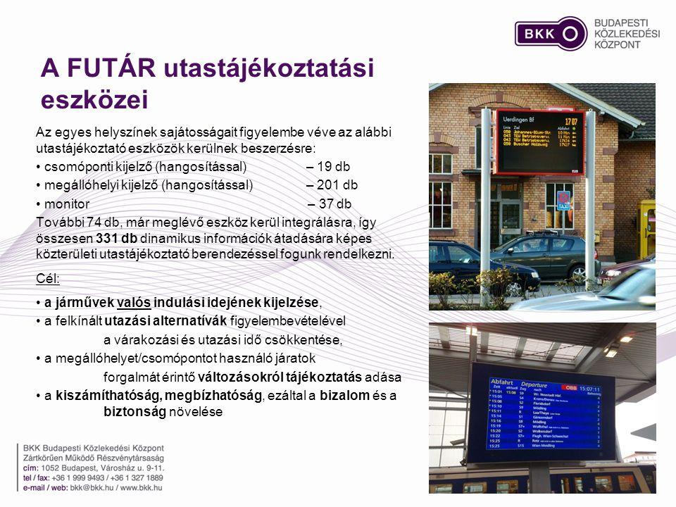 A FUTÁR utastájékoztatási eszközei Az egyes helyszínek sajátosságait figyelembe véve az alábbi utastájékoztató eszközök kerülnek beszerzésre: • csomóponti kijelző (hangosítással) – 19 db • megállóhelyi kijelző (hangosítással) – 201 db • monitor – 37 db További 74 db, már meglévő eszköz kerül integrálásra, így összesen 331 db dinamikus információk átadására képes közterületi utastájékoztató berendezéssel fogunk rendelkezni.
