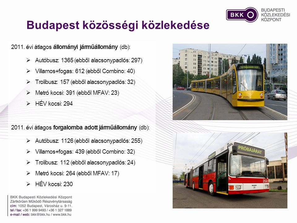 Budapest közösségi közlekedése 2011. évi átlagos állományi járműállomány (db):  Autóbusz: 1365 (ebből alacsonypadlós: 297)  Villamos+fogas: 612 (ebb
