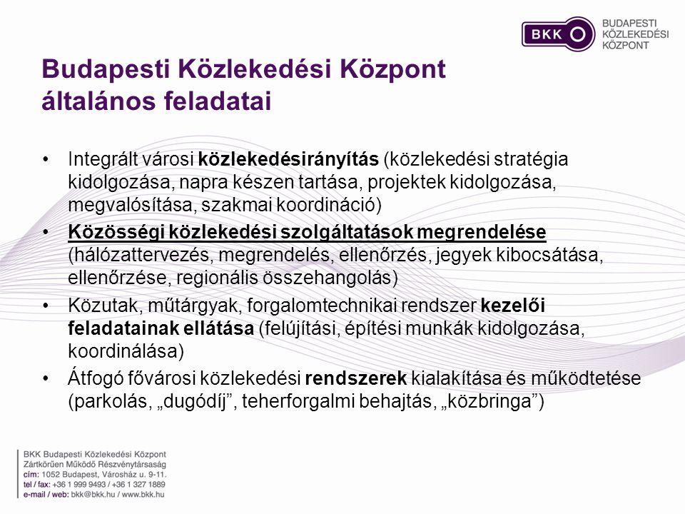 Budapesti Közlekedési Központ általános feladatai •Integrált városi közlekedésirányítás (közlekedési stratégia kidolgozása, napra készen tartása, proj