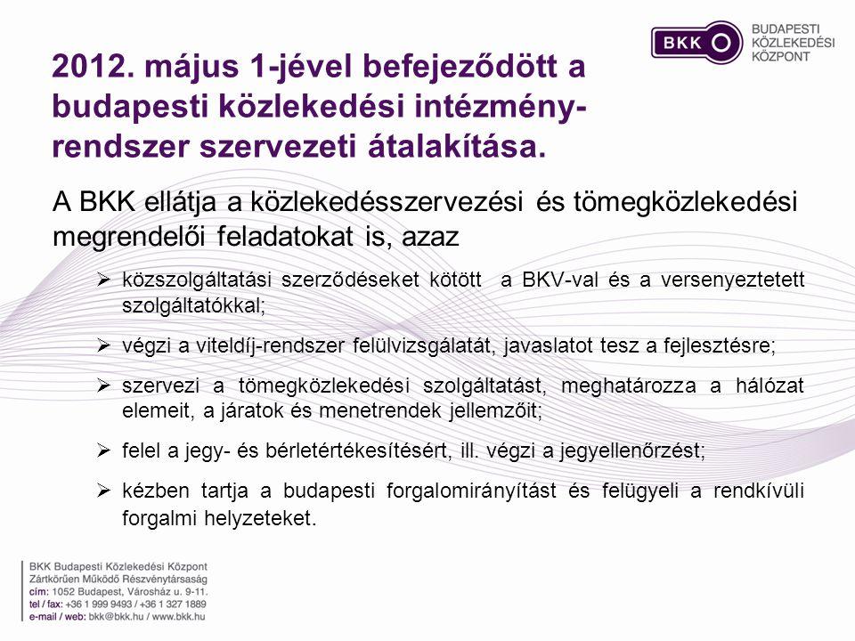 2012. május 1-jével befejeződött a budapesti közlekedési intézmény- rendszer szervezeti átalakítása. A BKK ellátja a közlekedésszervezési és tömegközl