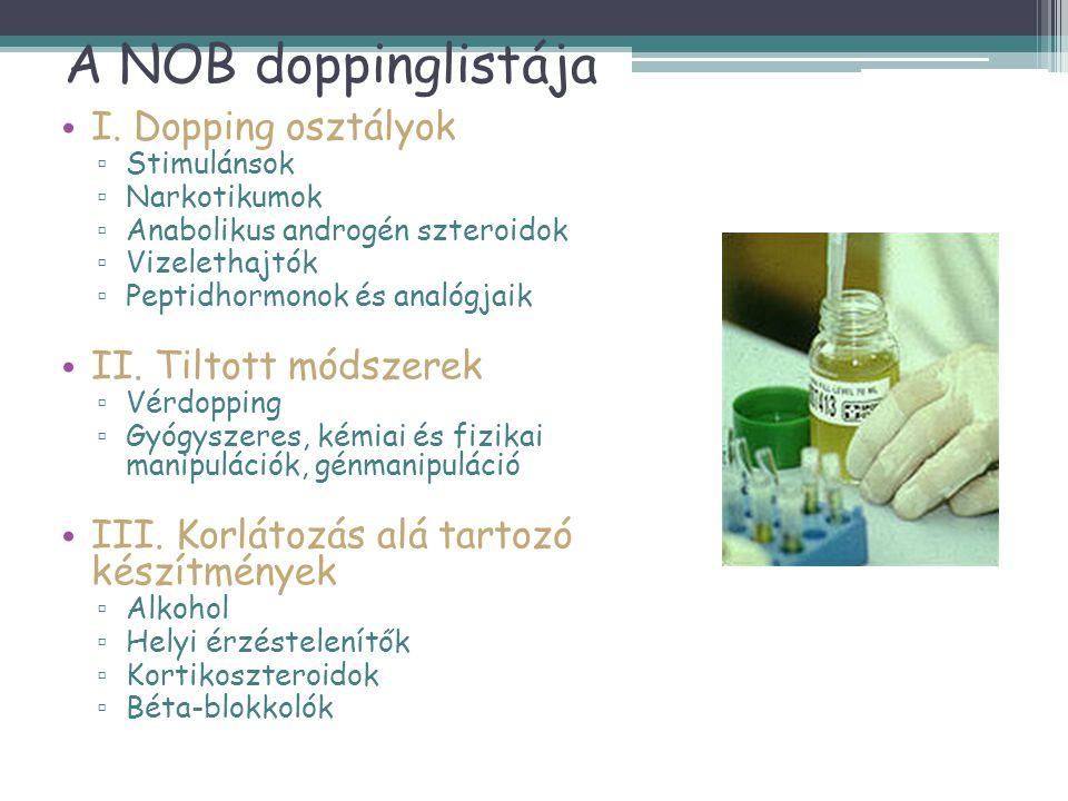 A NOB doppinglistája • I. Dopping osztályok ▫ Stimulánsok ▫ Narkotikumok ▫ Anabolikus androgén szteroidok ▫ Vizelethajtók ▫ Peptidhormonok és analógja