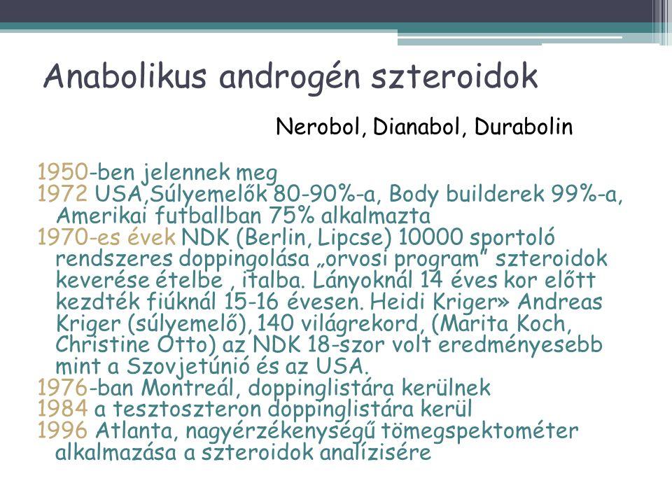 Anabolikus androgén szteroidok Nerobol, Dianabol, Durabolin 1950-ben jelennek meg 1972 USA,Súlyemelők 80-90%-a, Body builderek 99%-a, Amerikai futball