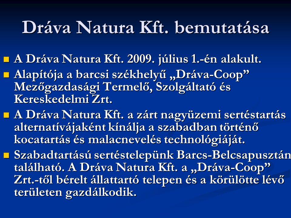 """Dráva Natura Kft. bemutatása  A Dráva Natura Kft. 2009. július 1.-én alakult.  Alapítója a barcsi székhelyű """"Dráva-Coop"""" Mezőgazdasági Termelő, Szol"""