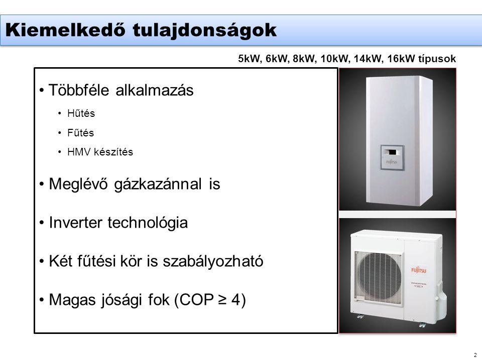 2 5kW, 6kW, 8kW, 10kW, 14kW, 16kW típusok • Többféle alkalmazás •Hűtés •Fűtés •HMV készítés • Meglévő gázkazánnal is • Inverter technológia • Két fűtési kör is szabályozható • Magas jósági fok (COP ≥ 4) Kiemelkedő tulajdonságok