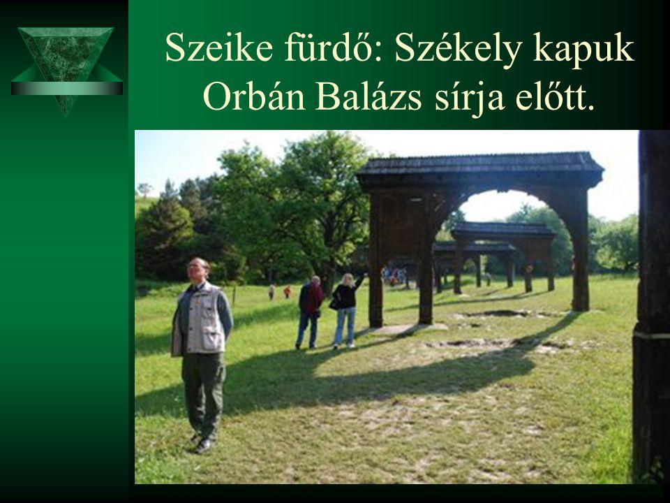 Szeike fürdő: Székely kapuk Orbán Balázs sírja előtt.