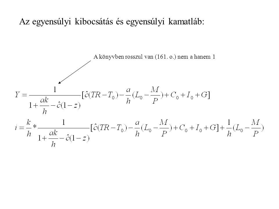 Az egyensúlyi kibocsátás és egyensúlyi kamatláb: A könyvben rosszul van (161. o.) nem a hanem 1