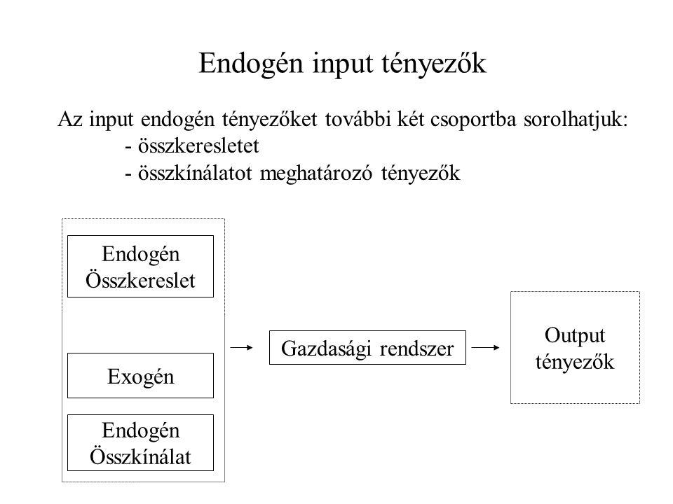 Endogén input tényezők Az input endogén tényezőket további két csoportba sorolhatjuk: - összkeresletet - összkínálatot meghatározó tényezők Endogén Ös