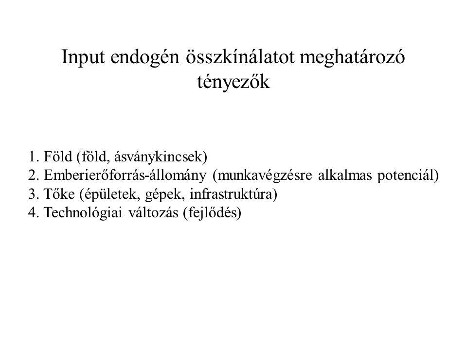 Input endogén összkínálatot meghatározó tényezők 1. Föld (föld, ásványkincsek) 2. Emberierőforrás-állomány (munkavégzésre alkalmas potenciál) 3. Tőke
