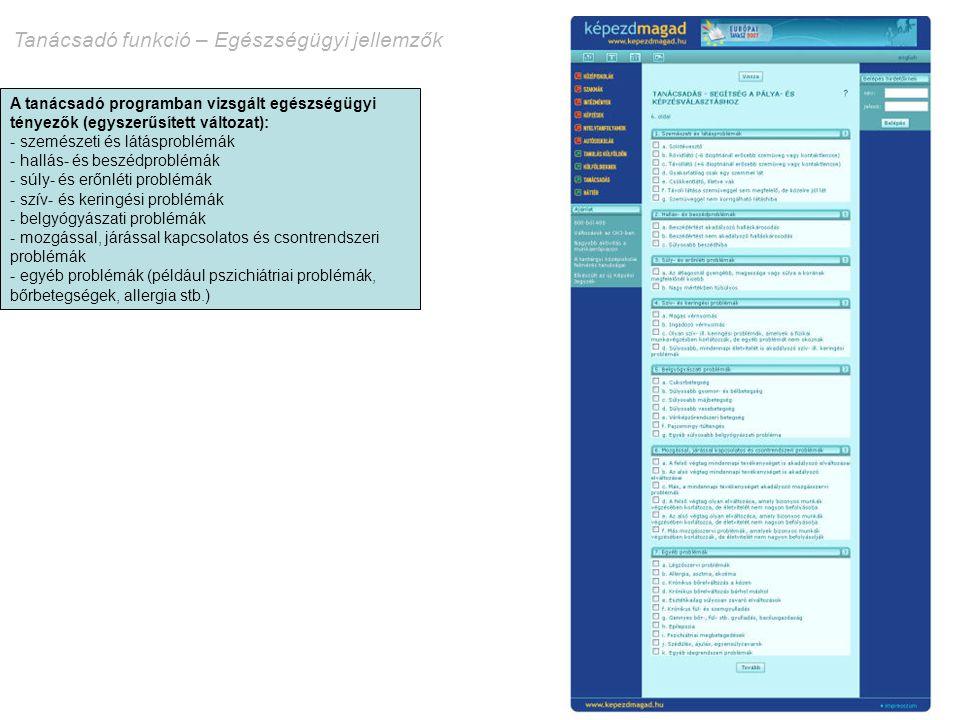 Tanácsadó funkció – Egészségügyi jellemzők A tanácsadó programban vizsgált egészségügyi tényezők (egyszerűsített változat): - szemészeti és látásprobl