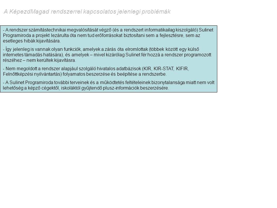 A KépezdMagad rendszerrel kapcsolatos jelenlegi problémák - A rendszer számítástechnikai megvalósítását végző (és a rendszert informatikailag kiszolgá