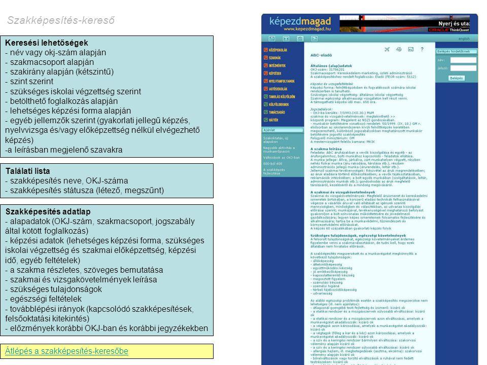 Keresési lehetőségek - név vagy okj-szám alapján - szakmacsoport alapján - szakirány alapján (kétszintű) - szint szerint - szükséges iskolai végzettsé