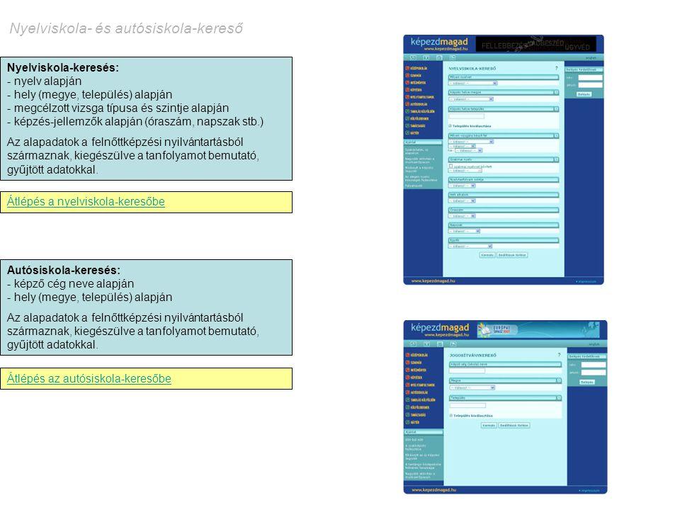 Nyelviskola-keresés: - nyelv alapján - hely (megye, település) alapján - megcélzott vizsga típusa és szintje alapján - képzés-jellemzők alapján (órasz
