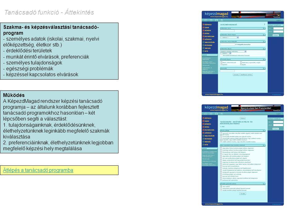 Tanácsadó funkció - Áttekintés Szakma- és képzésválasztási tanácsadó- program - személyes adatok (iskolai, szakmai, nyelvi előképzettség, életkor stb.