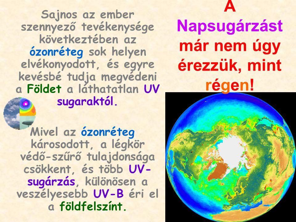Sajnos az ember szennyező tevékenysége következtében az ózonréteg sok helyen elvékonyodott, és egyre kevésbé tudja megvédeni a Földet a láthatatlan UV sugaraktól.