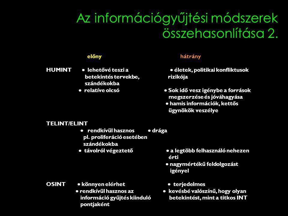 Az információgyűjtési módszerek összehasonlítása 2.