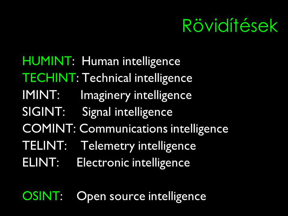 Rövidítések HUMINT: Human intelligence TECHINT: Technical intelligence IMINT: Imaginery intelligence SIGINT: Signal intelligence COMINT: Communications intelligence TELINT: Telemetry intelligence ELINT: Electronic intelligence OSINT: Open source intelligence