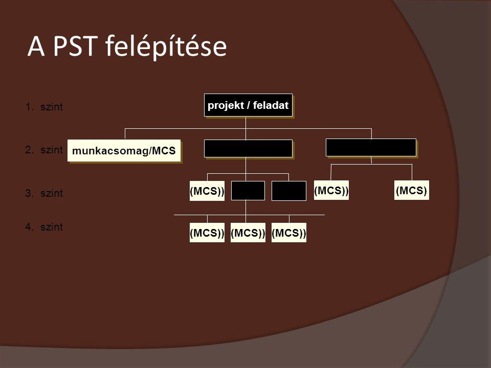 A PST felépítése 2. szint projekt / feladat munkacsomag/MCS részfeladat/RF (RF) 1. szint 3. szint 4. szint (RF) MCS) (MCS)) (MCS)