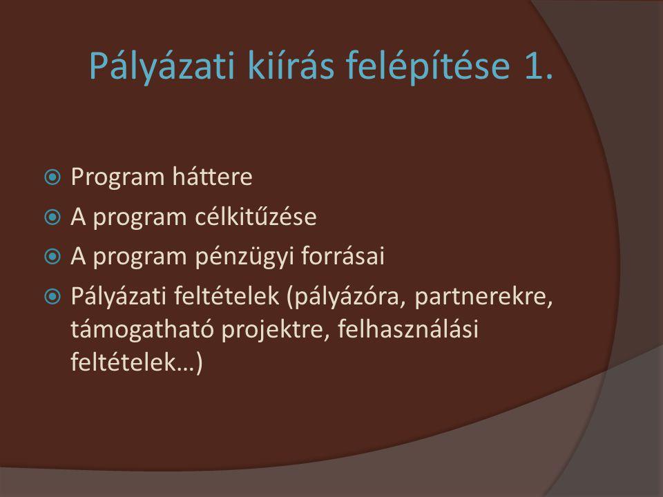 Pályázati kiírás felépítése 1.  Program háttere  A program célkitűzése  A program pénzügyi forrásai  Pályázati feltételek (pályázóra, partnerekre,