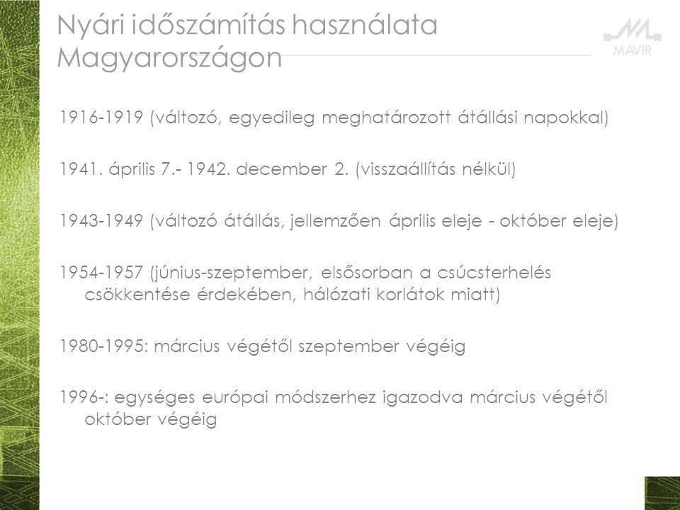 Nyári időszámítás használata Magyarországon 1916-1919 (változó, egyedileg meghatározott átállási napokkal) 1941. április 7.- 1942. december 2. (vissza