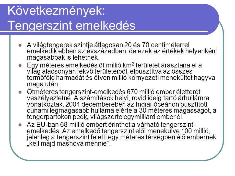 Következmények: Tengerszint emelkedés  A világtengerek szintje átlagosan 20 és 70 centiméterrel emelkedik ebben az évszázadban, de ezek az értékek he