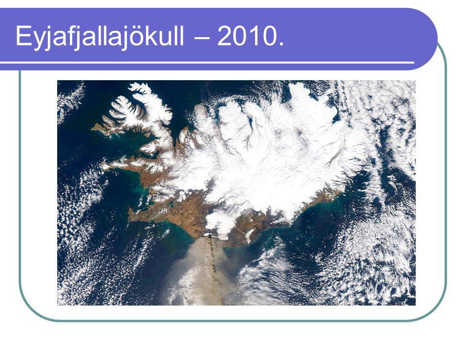 Eyjafjallajökull – 2010.  Az elmúlt 1100 évben az Eyjafjallajökull négy alkalommal lépett működésbe: 920-ban, 1612- ben, 1821–23 között és 2010-ben.
