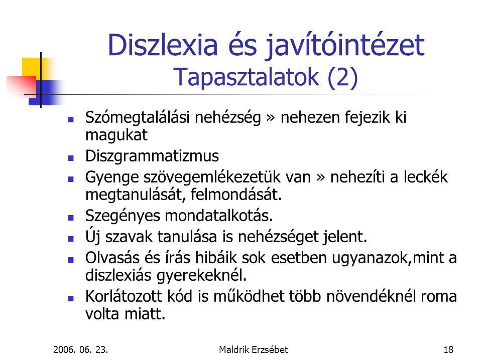 2006. 06. 23.Maldrik Erzsébet18 Diszlexia és javítóintézet Tapasztalatok (2)  Szómegtalálási nehézség » nehezen fejezik ki magukat  Diszgrammatizmus