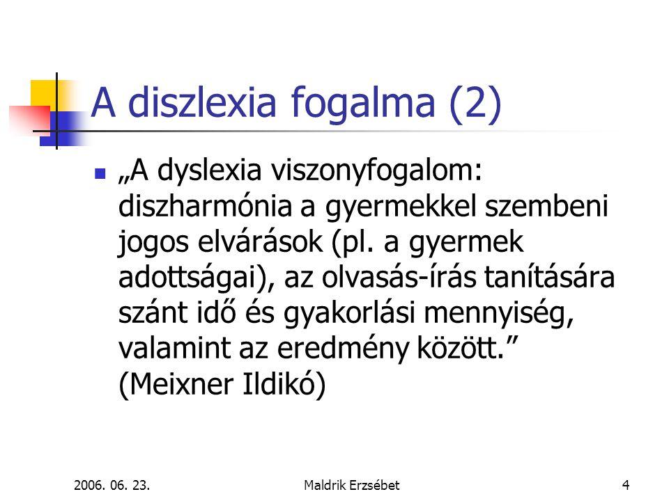 """2006. 06. 23.Maldrik Erzsébet4 A diszlexia fogalma (2)  """"A dyslexia viszonyfogalom: diszharmónia a gyermekkel szembeni jogos elvárások (pl. a gyermek"""