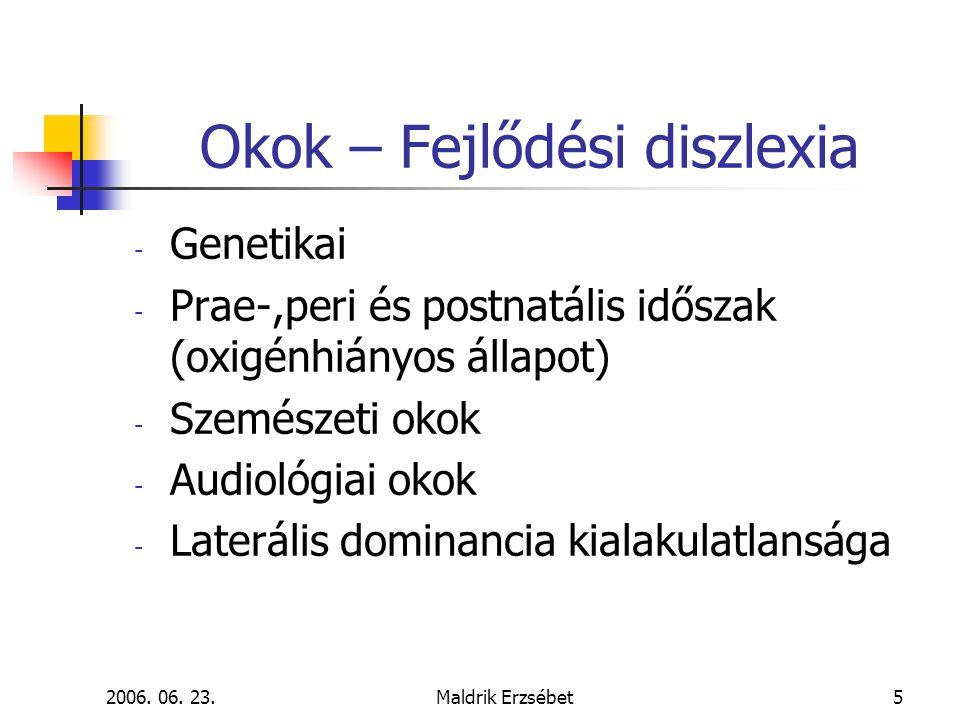 2006. 06. 23.Maldrik Erzsébet5 Okok – Fejlődési diszlexia - Genetikai - Prae-,peri és postnatális időszak (oxigénhiányos állapot) - Szemészeti okok -