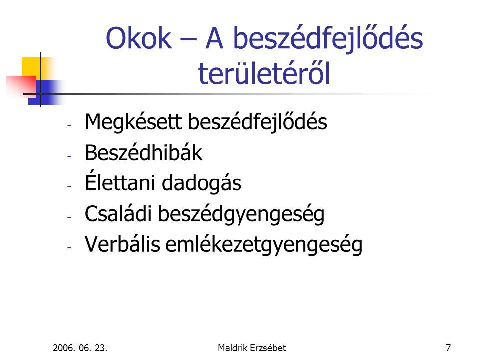 2006. 06. 23.Maldrik Erzsébet7 Okok – A beszédfejlődés területéről - Megkésett beszédfejlődés - Beszédhibák - Élettani dadogás - Családi beszédgyenges