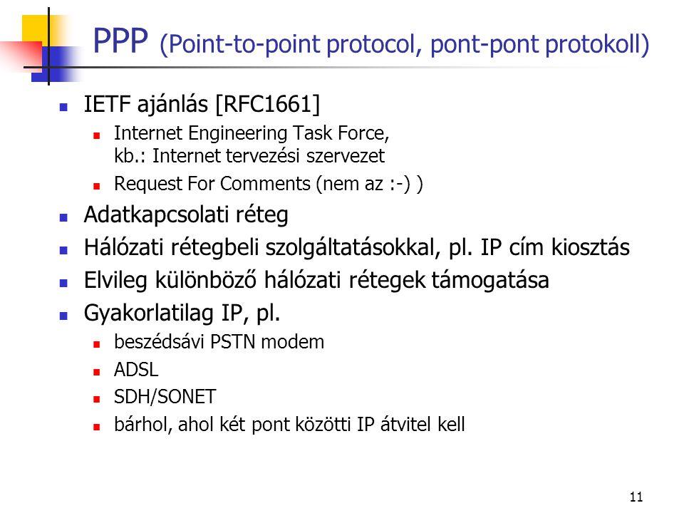 11 PPP (Point-to-point protocol, pont-pont protokoll)  IETF ajánlás [RFC1661]  Internet Engineering Task Force, kb.: Internet tervezési szervezet 