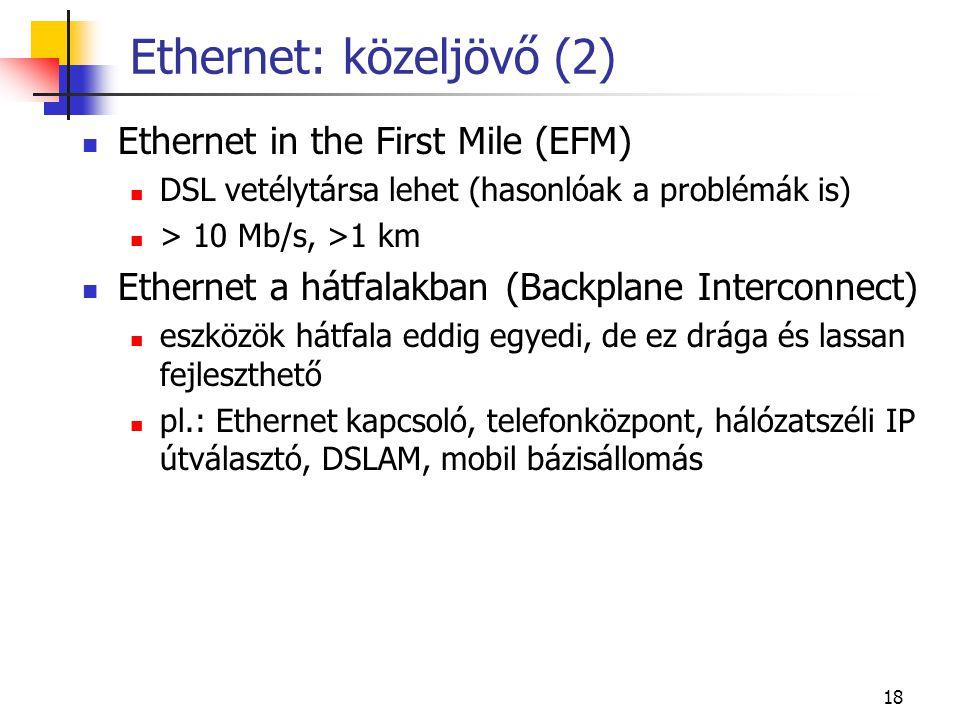 18 Ethernet: közeljövő (2)  Ethernet in the First Mile (EFM)  DSL vetélytársa lehet (hasonlóak a problémák is)  > 10 Mb/s, >1 km  Ethernet a hátfa