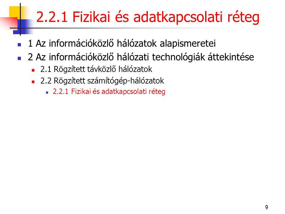 9  1 Az információközlő hálózatok alapismeretei  2 Az információközlő hálózati technológiák áttekintése  2.1 Rögzített távközlő hálózatok  2.2 Rög