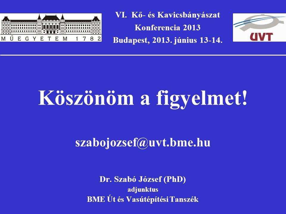 VI.Kő- és Kavicsbányászat Konferencia 2013 Budapest, 2013.