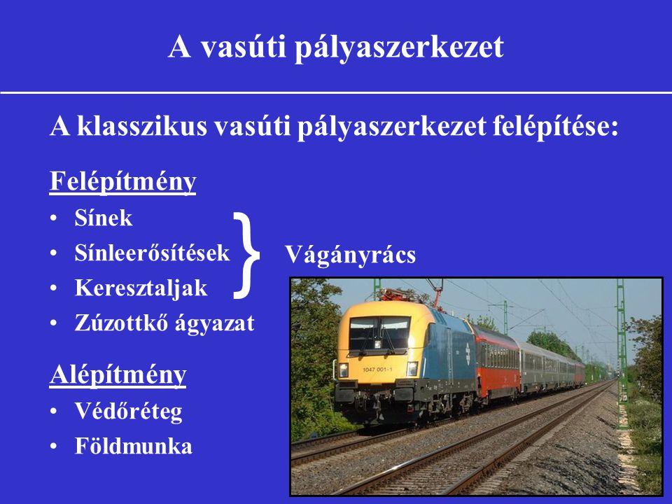 A vasúti pályaszerkezet A klasszikus vasúti pályaszerkezet felépítése: Felépítmény •Sínek •Sínleerősítések •Keresztaljak •Zúzottkő ágyazat Alépítmény •Védőréteg •Földmunka } Vágányrács