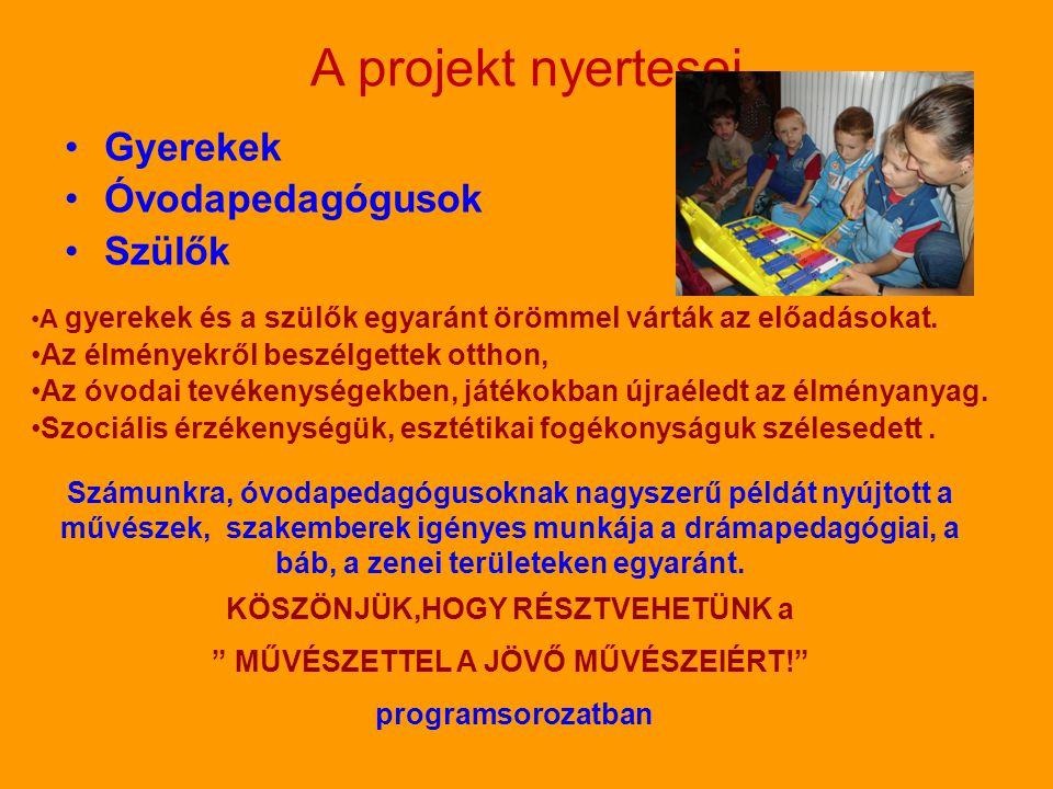 A projekt nyertesei •Gyerekek •Óvodapedagógusok •Szülők •A gyerekek és a szülők egyaránt örömmel várták az előadásokat. •Az élményekről beszélgettek o