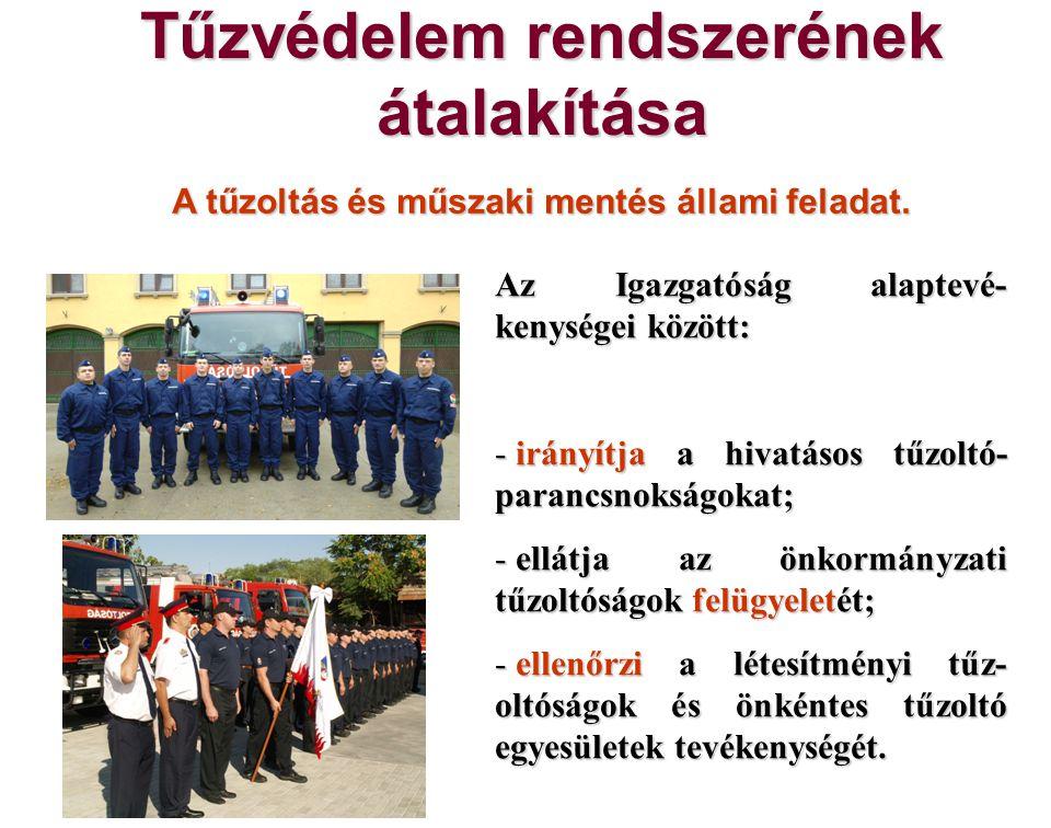 Tűzvédelem rendszerének átalakítása A tűzoltás és műszaki mentés állami feladat. Az Igazgatóság alaptevé- kenységei között: - irányítja a hivatásos tű