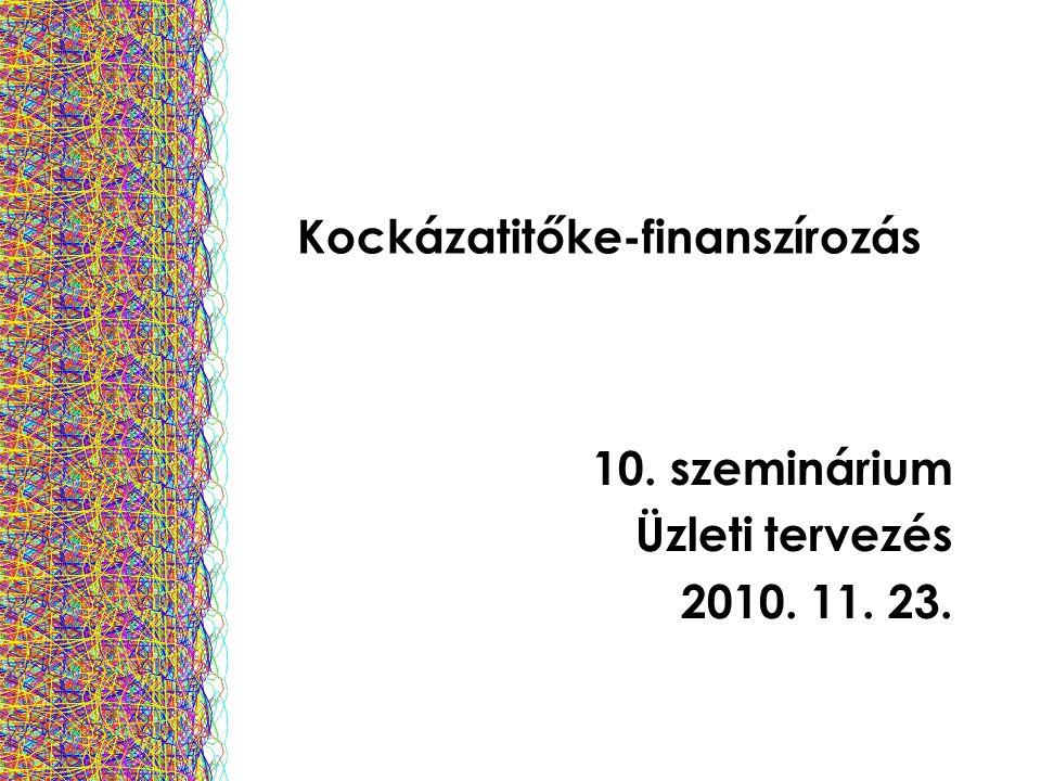 Kockázatitőke-finanszírozás 10. szeminárium Üzleti tervezés 2010. 11. 23.
