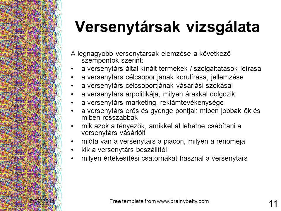 6/29/2014Free template from www.brainybetty.com 11 Versenytársak vizsgálata A legnagyobb versenytársak elemzése a következő szempontok szerint: •a ver