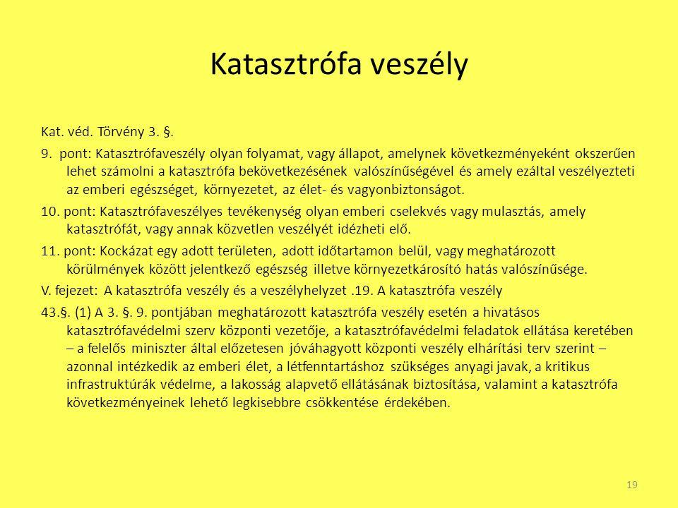 Katasztrófa veszély Kat. véd. Törvény 3. §. 9. pont: Katasztrófaveszély olyan folyamat, vagy állapot, amelynek következményeként okszerűen lehet számo