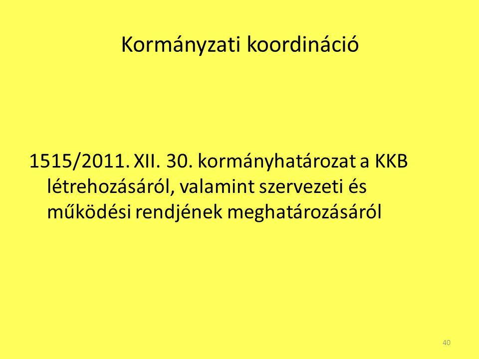 Kormányzati koordináció 1515/2011. XII. 30. kormányhatározat a KKB létrehozásáról, valamint szervezeti és működési rendjének meghatározásáról 40