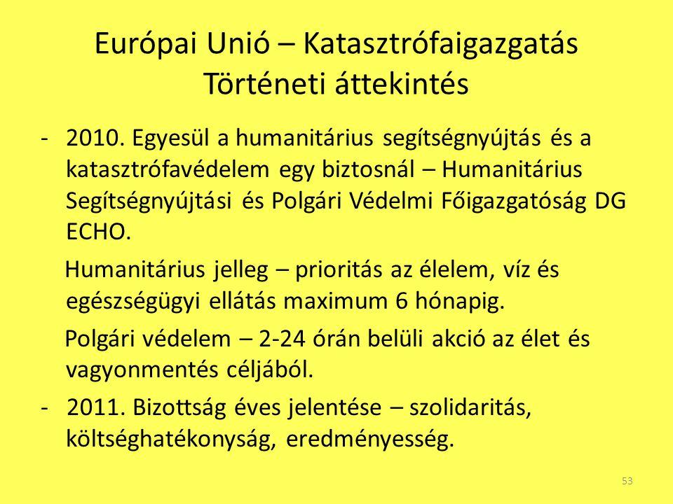 Európai Unió – Katasztrófaigazgatás Történeti áttekintés -2010. Egyesül a humanitárius segítségnyújtás és a katasztrófavédelem egy biztosnál – Humanit