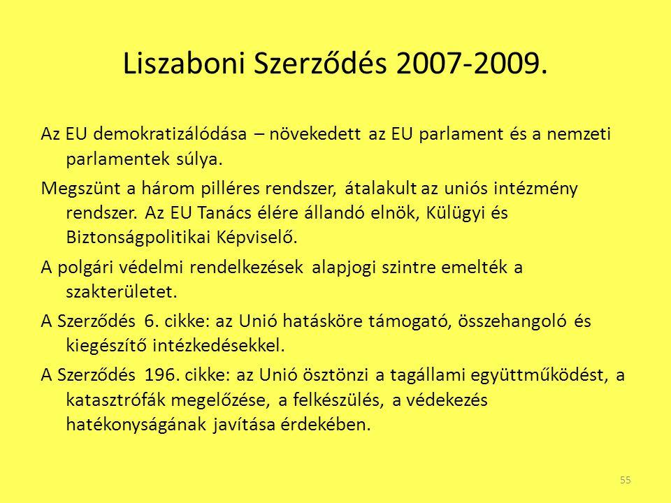 Liszaboni Szerződés 2007-2009. Az EU demokratizálódása – növekedett az EU parlament és a nemzeti parlamentek súlya. Megszünt a három pilléres rendszer
