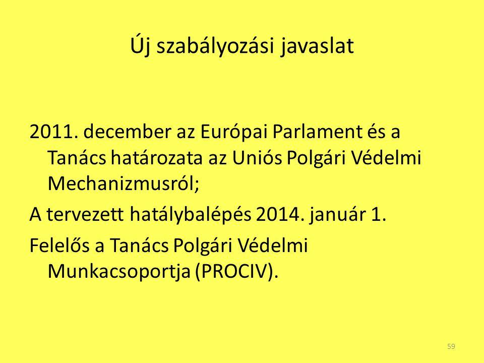Új szabályozási javaslat 2011. december az Európai Parlament és a Tanács határozata az Uniós Polgári Védelmi Mechanizmusról; A tervezett hatálybalépés