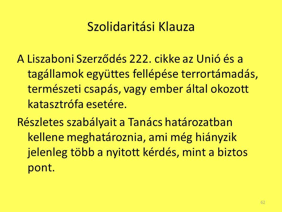 Szolidaritási Klauza A Liszaboni Szerződés 222. cikke az Unió és a tagállamok együttes fellépése terrortámadás, természeti csapás, vagy ember által ok