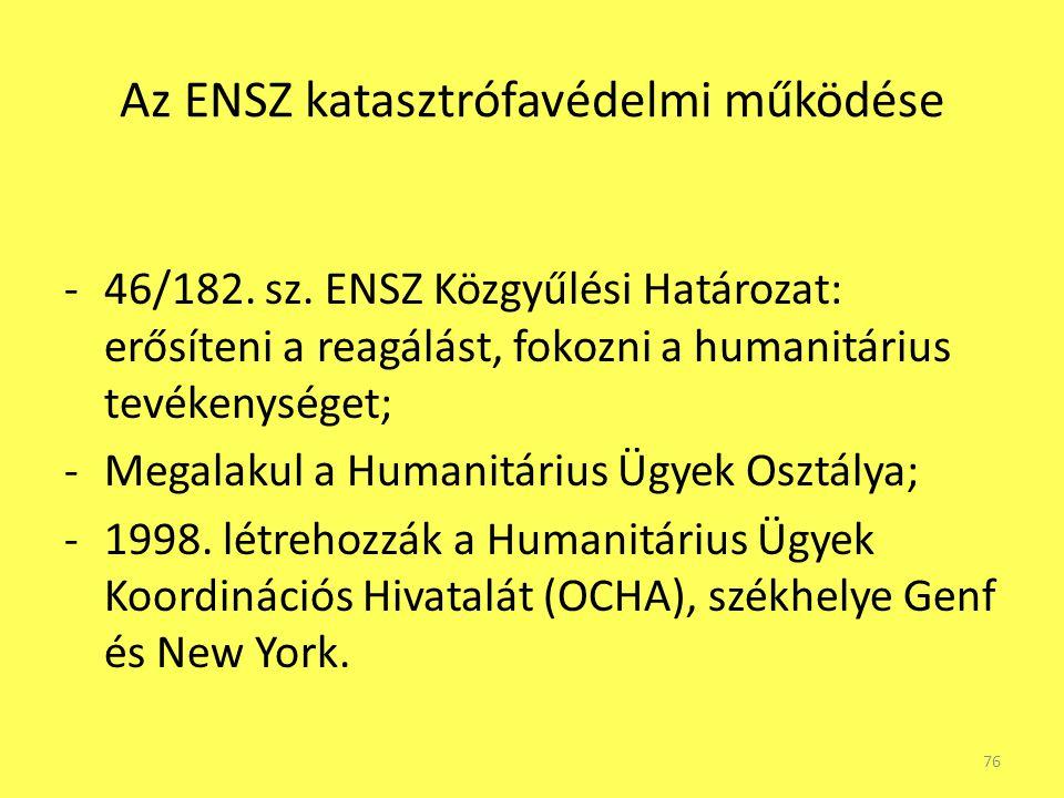 Az ENSZ katasztrófavédelmi működése -46/182. sz. ENSZ Közgyűlési Határozat: erősíteni a reagálást, fokozni a humanitárius tevékenységet; -Megalakul a