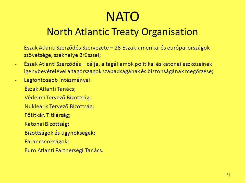 NATO North Atlantic Treaty Organisation -Észak Atlanti Szerződés Szervezete – 28 Észak-amerikai és európai országok szövetsége, székhelye Brüsszel; -É